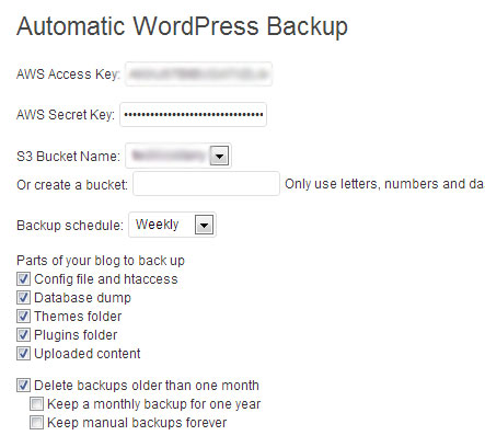 WordPress to Amazon S3 backup