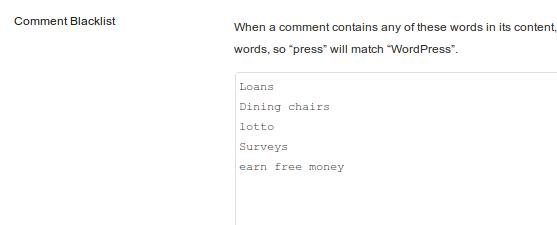 Comments blacklist