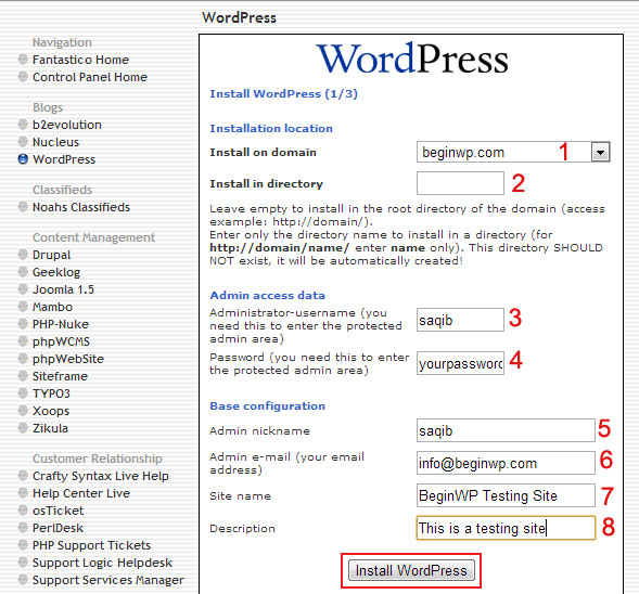 Fantastico wordpress