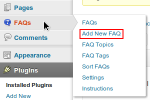 FAQ Manager Tab