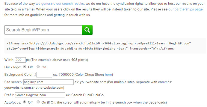 Duckduckgo wordpress