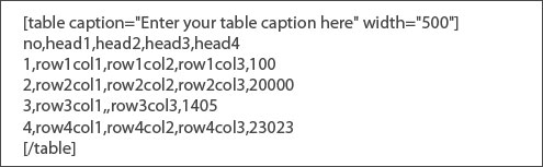 easy wordpress table