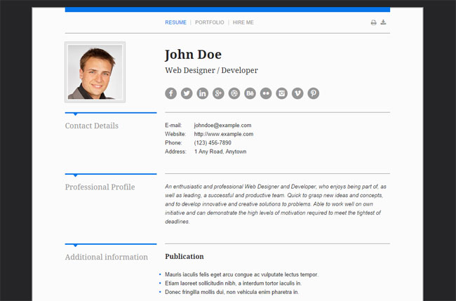it is specifically designed to help you set up a professional online resume portfolio website - Online Resume Website