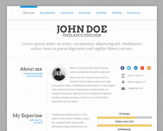 perfectcv is like the name says a perfect cv resume wordpress theme for you its based on twitter bootstrap its ultra responsive and retina ready