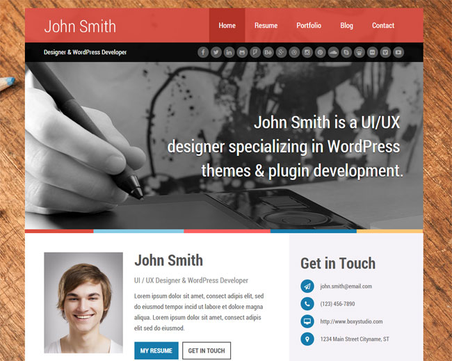 15 best wordpress themes for creating resume cv profile
