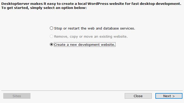 DesktopServer Create Website