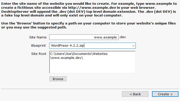 DesktopServer Install WordPress