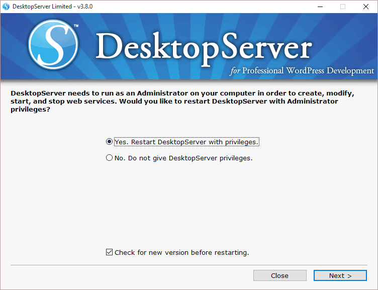 DesktopServer Restart