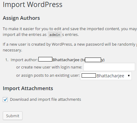 import wordpress options