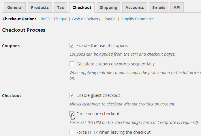 WooCommerce Force SSL