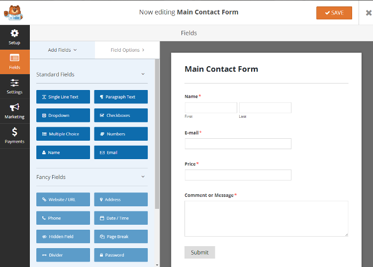 WPForms User Interface