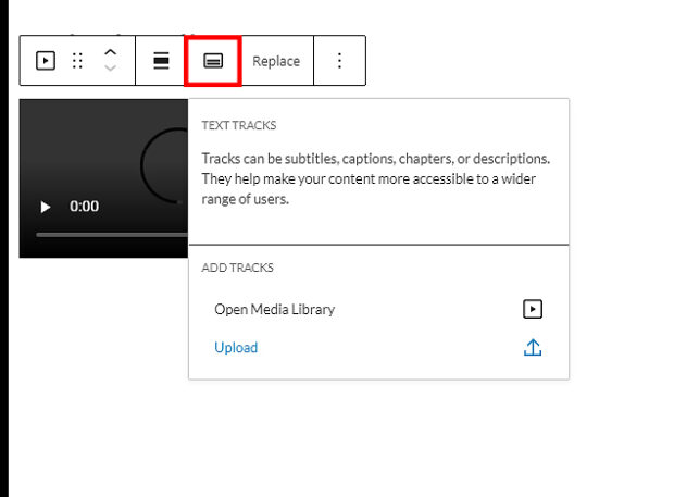 add captions and subtitles in WordPress